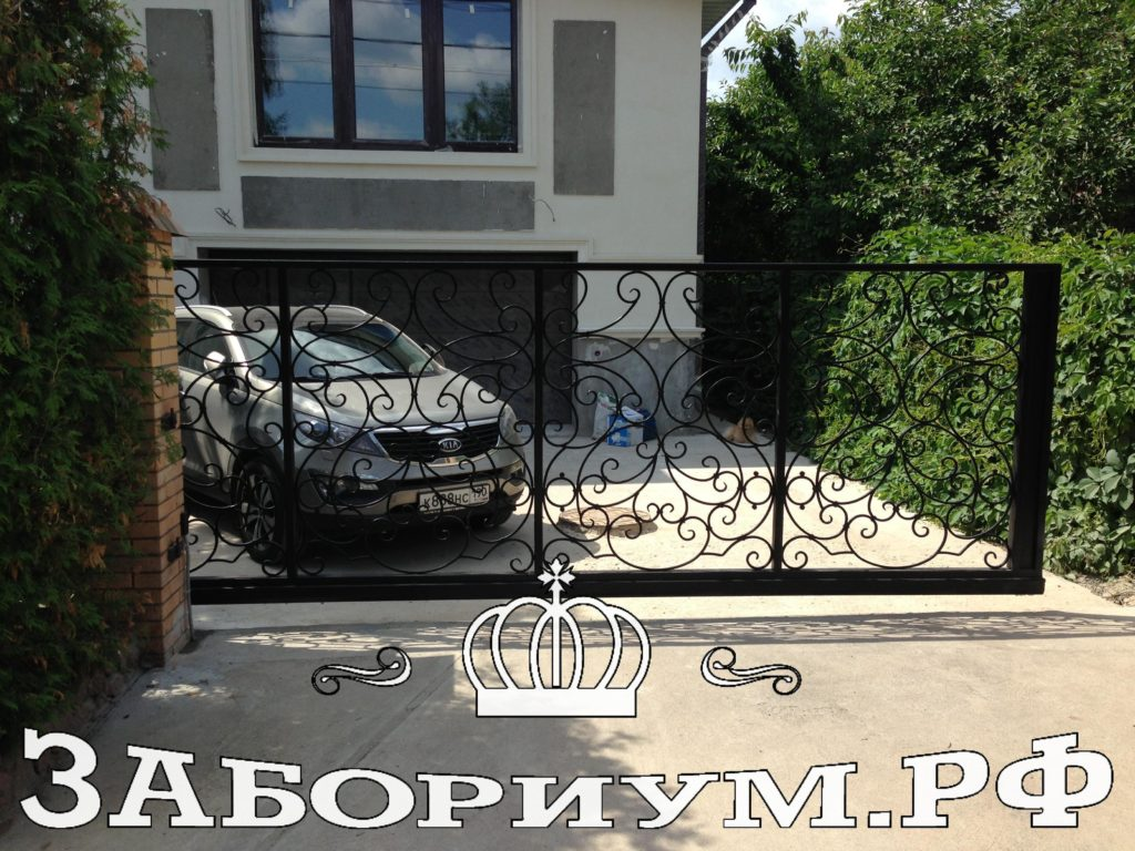 Автоматические откатные ворота из профильной трубы и прутка в г. Королёв