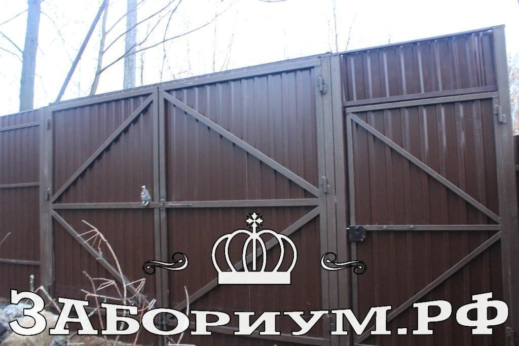 Забор из 2х-стороннего профнастила в г.Пушкино высотой 2.5м.