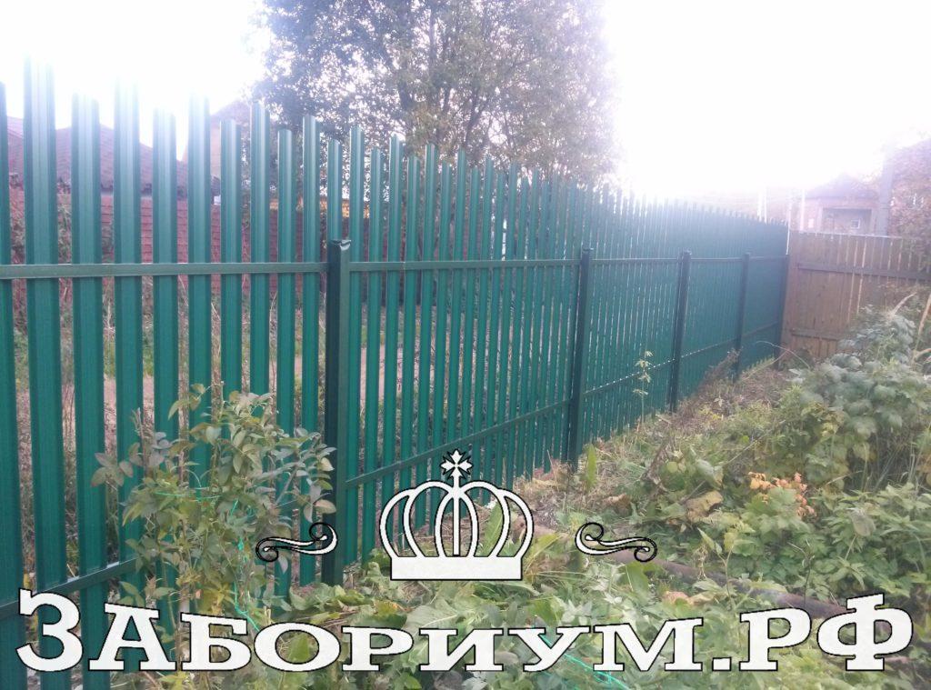 Комбинированный забор из 2-х стороннего фигурного профнастила и металлического штакетника в г. Пушкино