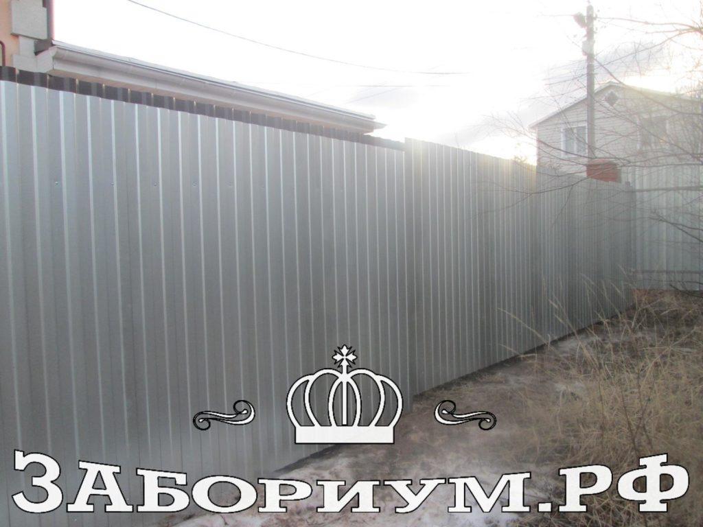 Забор из оцинкованного профилированного листа в г.Чехов