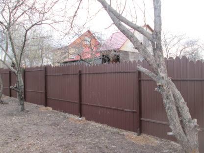 Забор из фигурного профнастила с 2-х сторонним покрытием в г. Видное