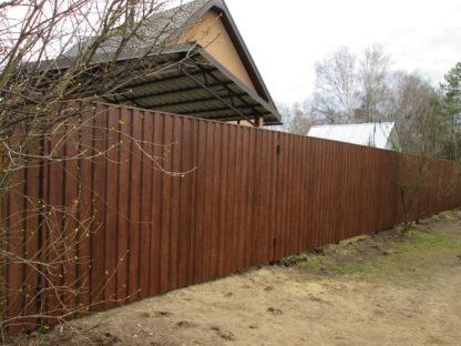 Забор из 2-х стороннего профнастила под дерево (античный дуб) в г. Купавна