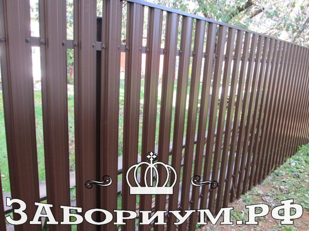 Забор из прямоугольного евроштакетника в д. Пирогово