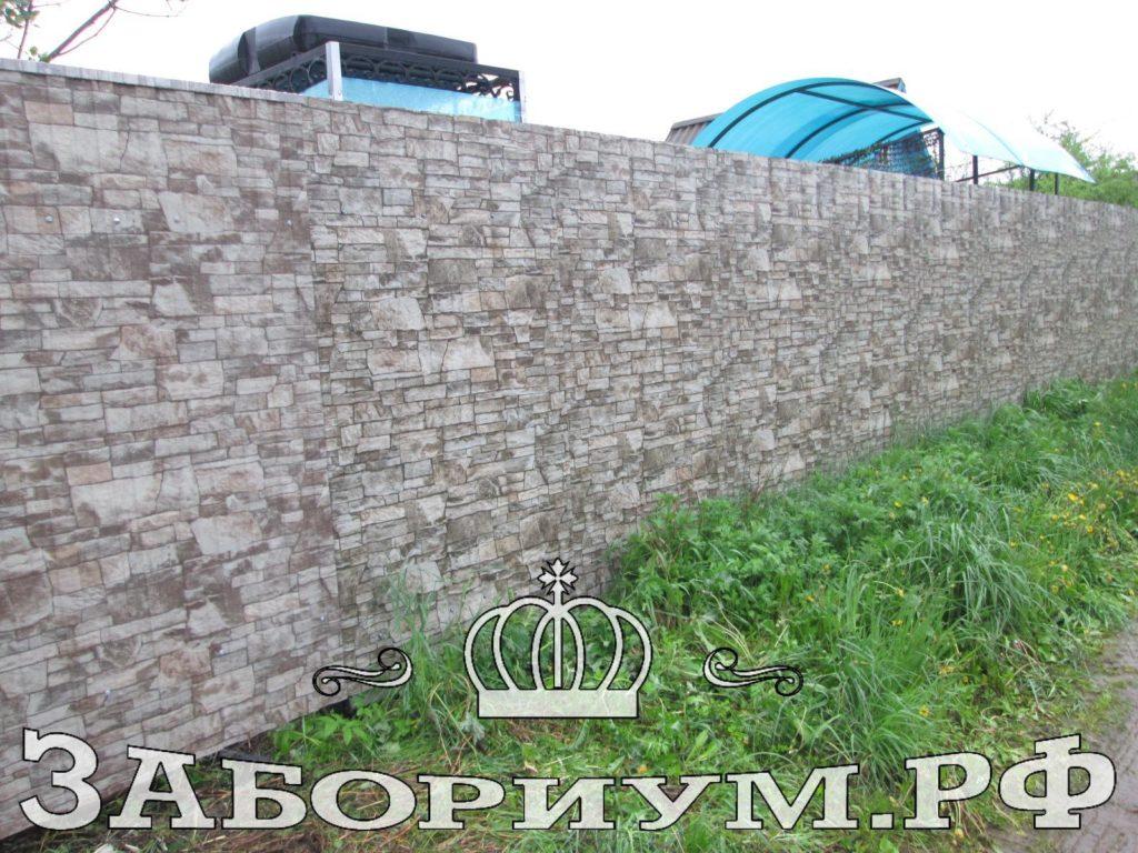 Забор из профнастила под камень в г. Кимры