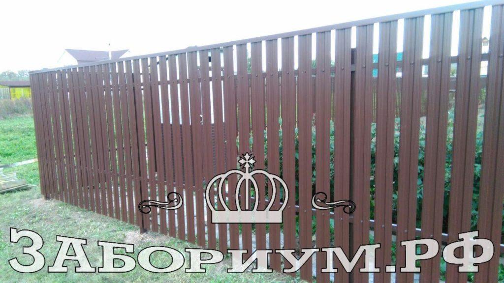 Забор из м-образного металлического штакетника в г.Звенигород